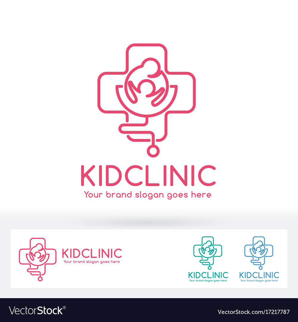Kid clinic logo parent and child in cross symbol