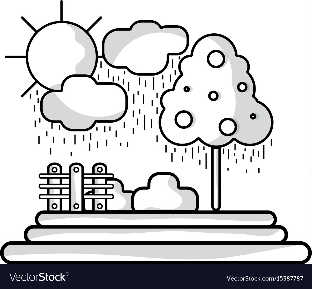 Line counds raining with tree and grid wool vector image