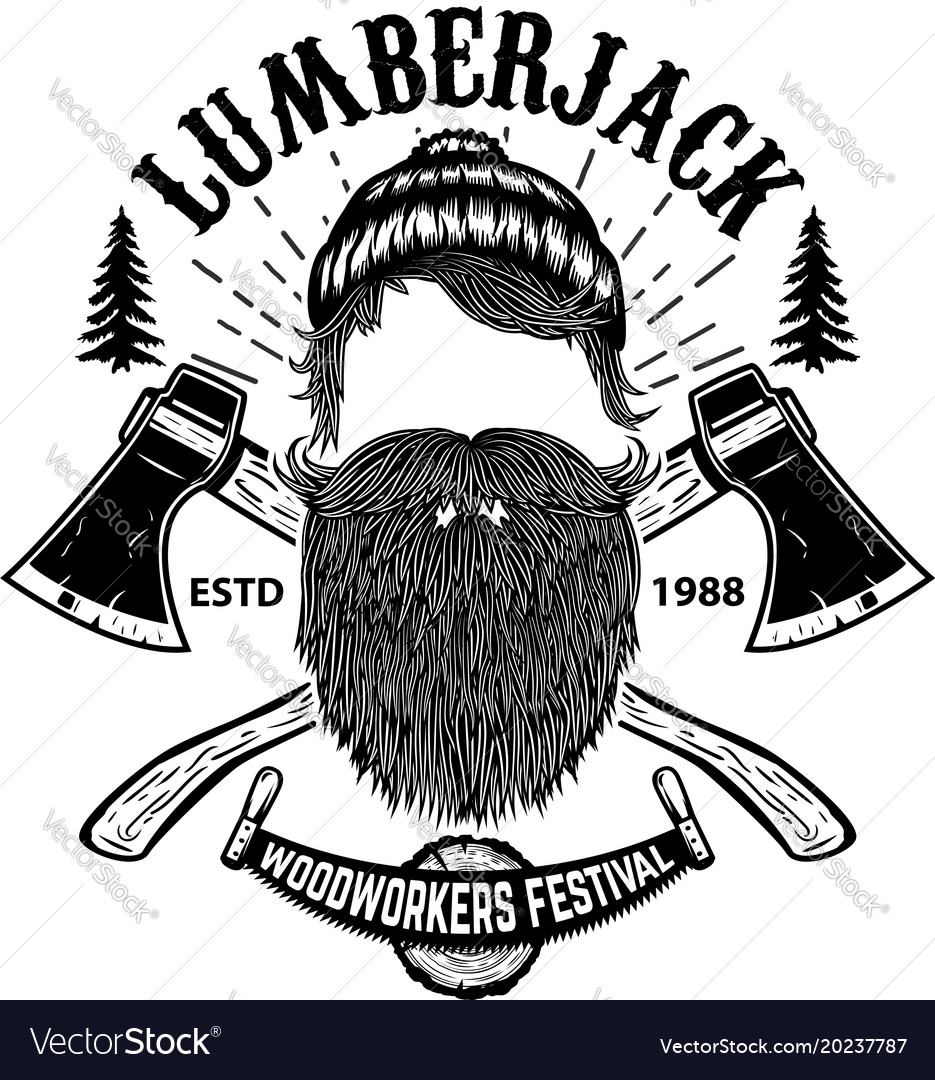 Lumberjack woodworkers festival poster template