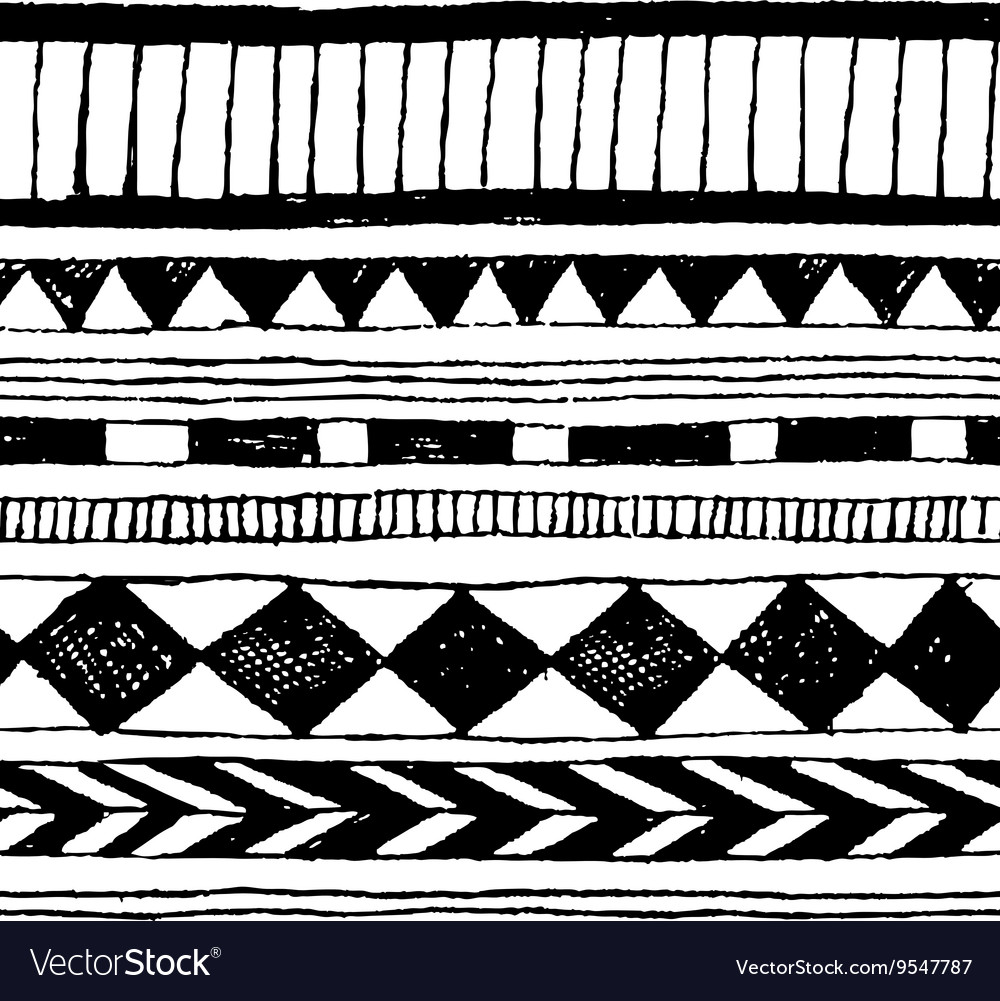 Seamless hand-draw tribal ink pattern