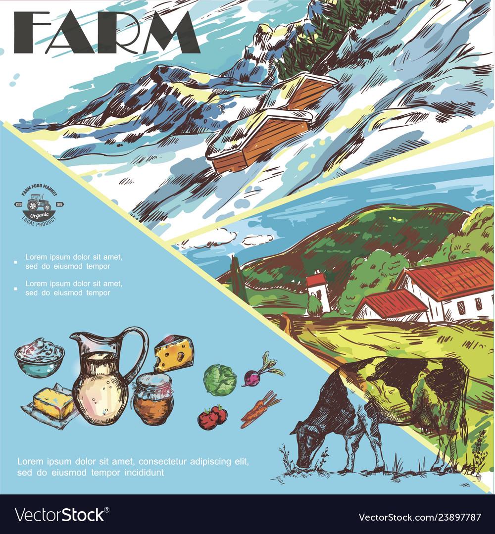 Sketch farm colorful template