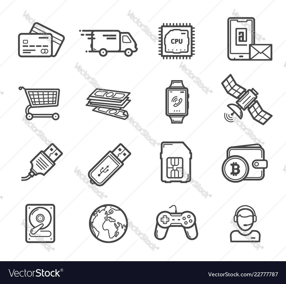 Smart technology devices icons