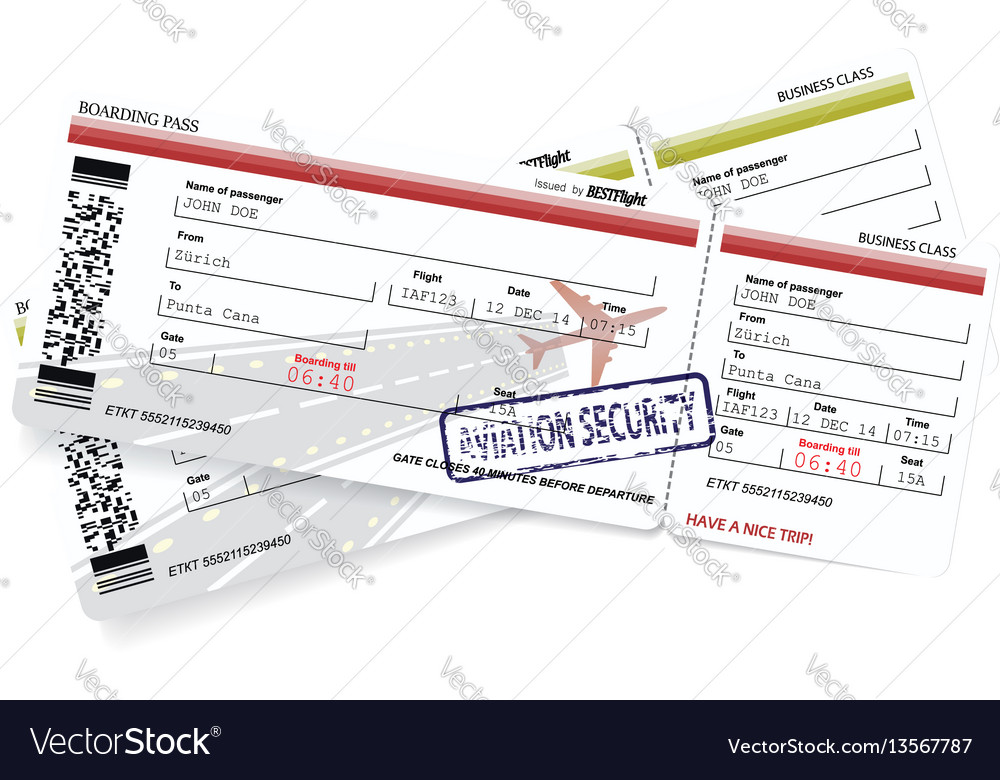 Template Of Boarding Pass Tickets Royalty Free Vector Image