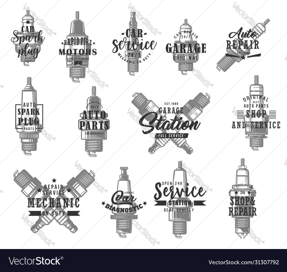 Automobile spark plugs types isolated icons