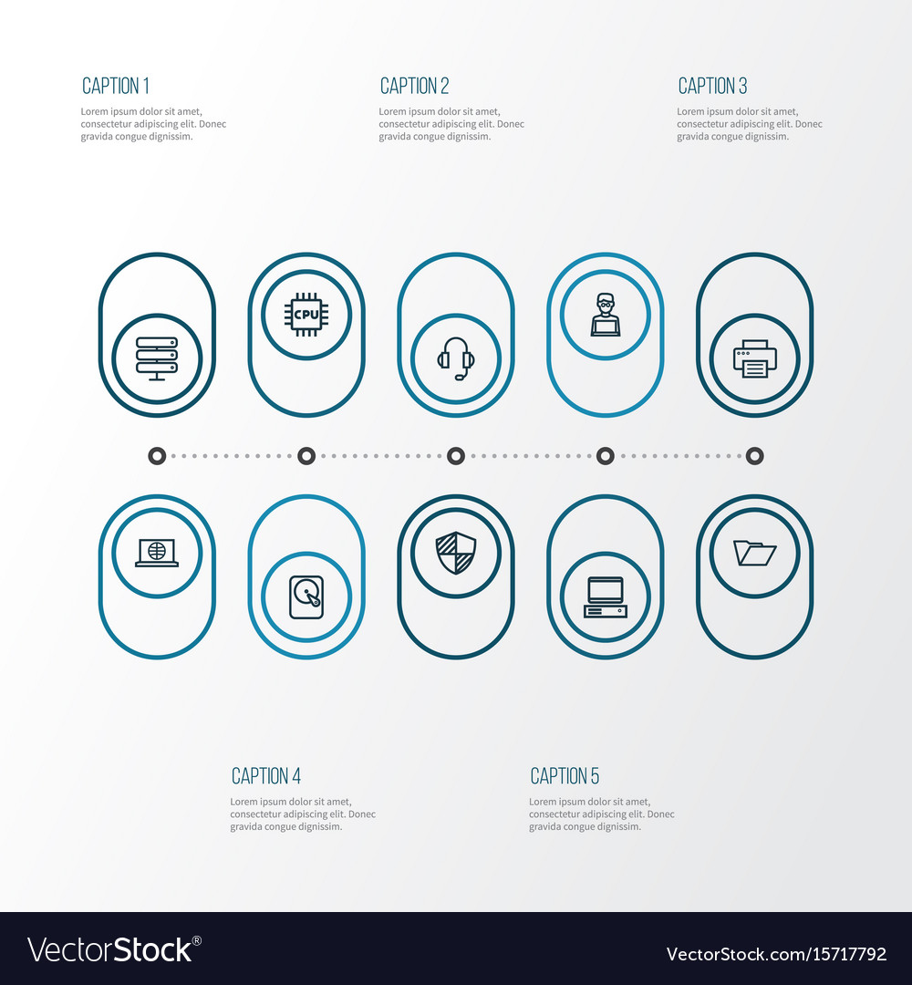 Computer outline icons set collection of web vector image