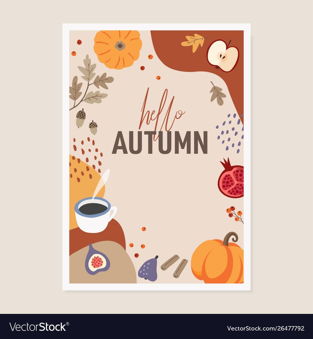 Cute autumn greeting card invitation pumpkins