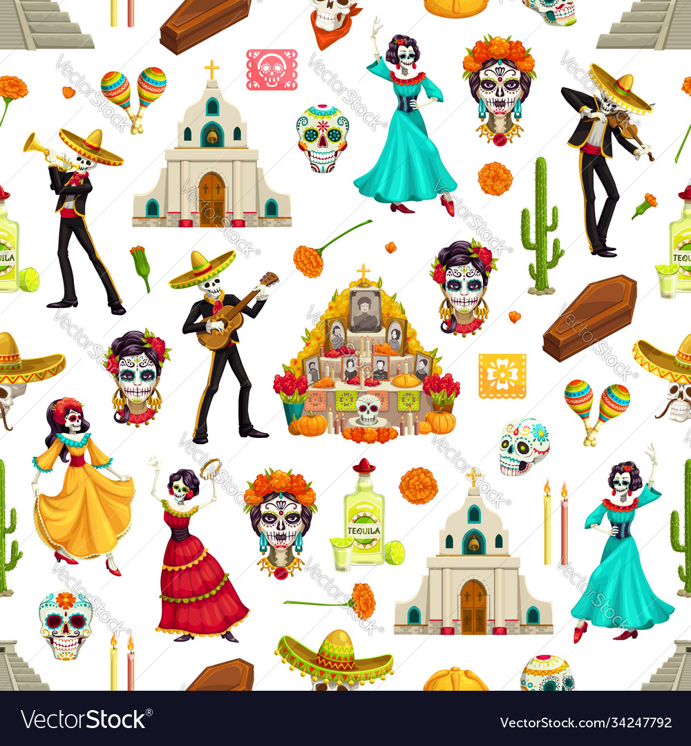 Day dead seamless pattern with sugar skulls