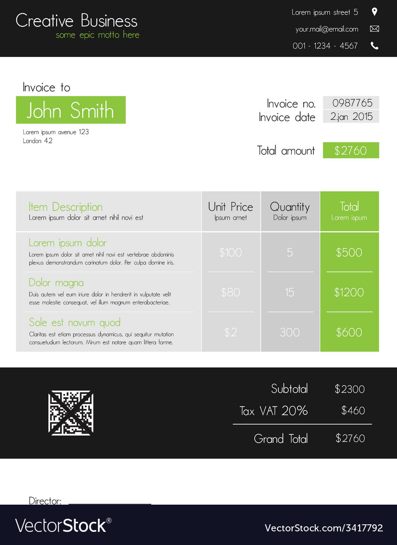 Invoice Template Clean Modern Style Of Green And - Invoice style