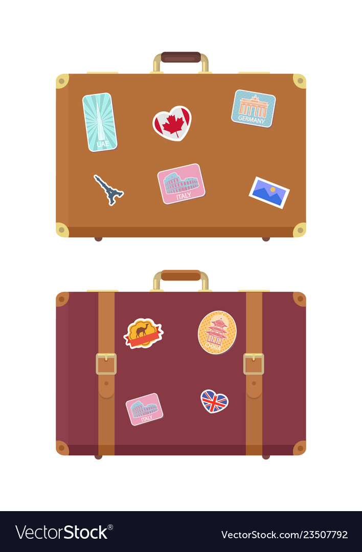 Luggage travel bags with stickers icons set