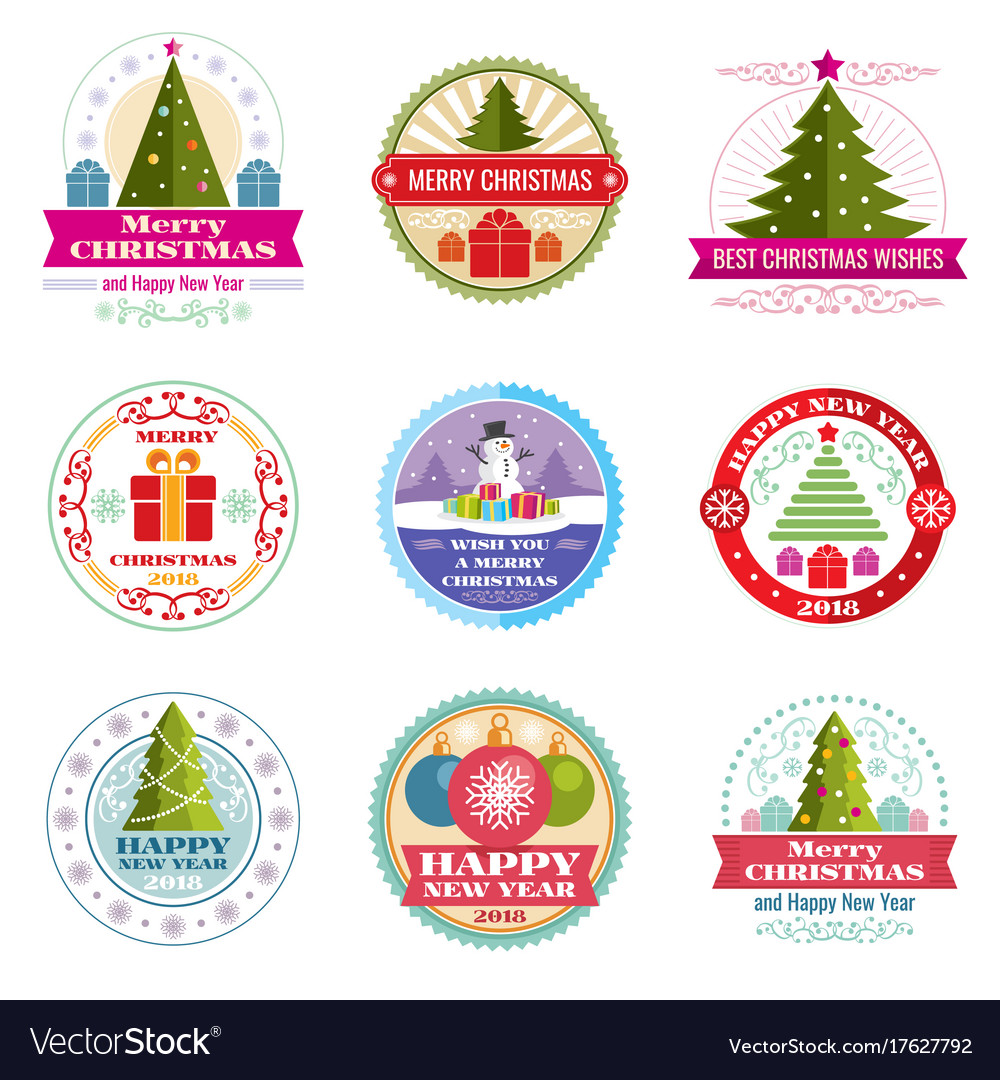 Merry christmas labels winter holiday