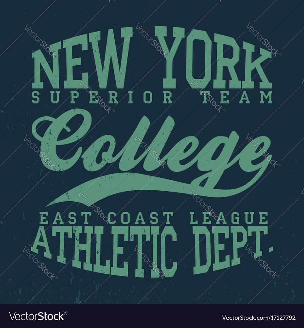 New york college t-shirt graphics vintage denim