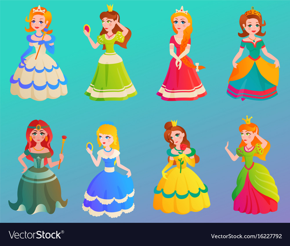 Princess character cute adorble girls different