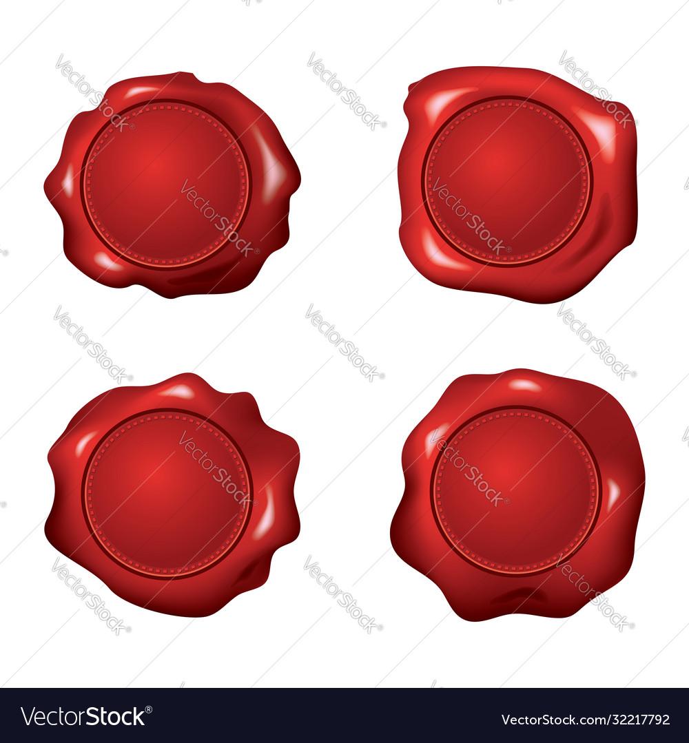 Set red wax seals