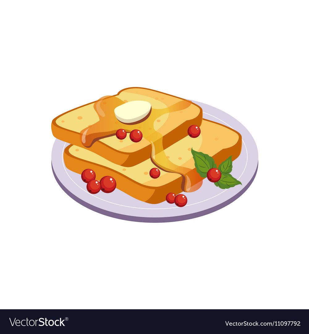 Toasts With Butter Breakfast Food Element Isolated