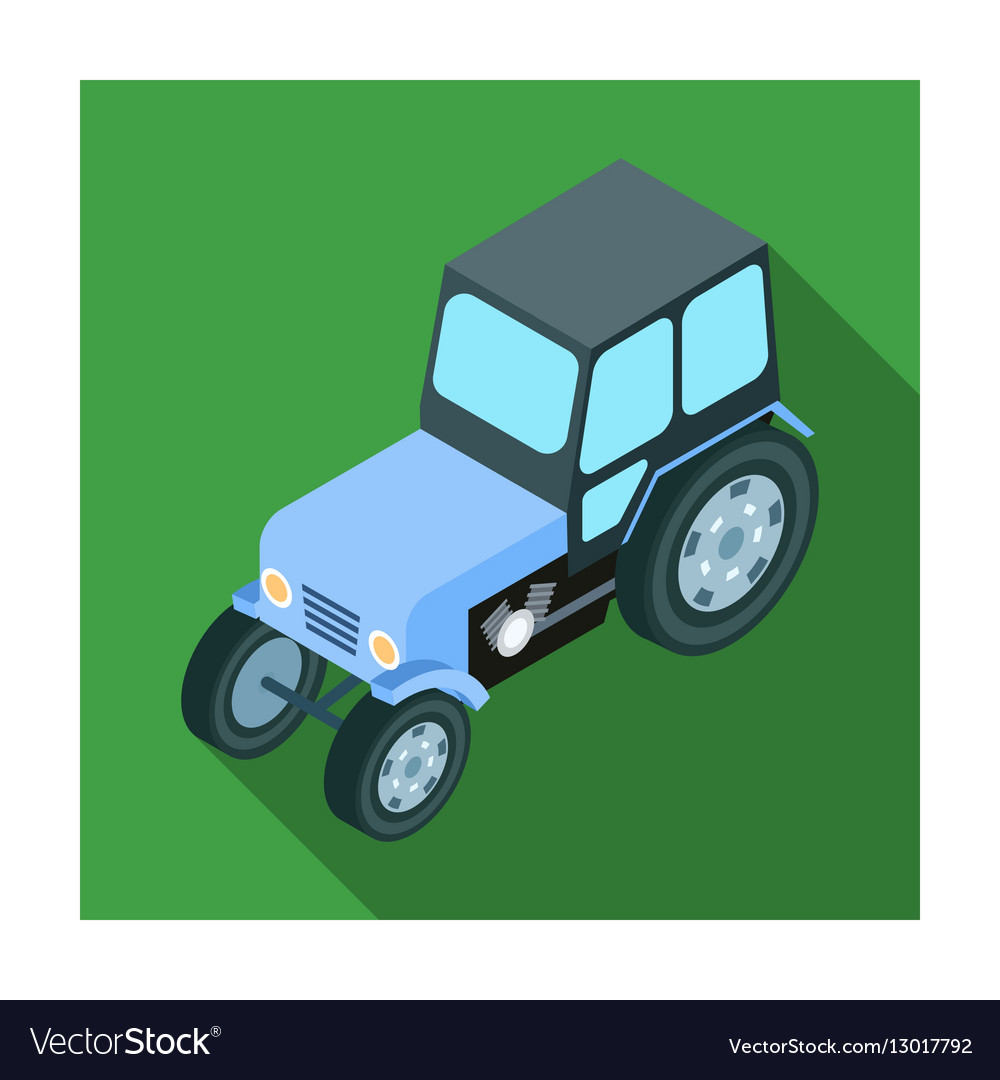 Tractor icon in flat style isolated on white