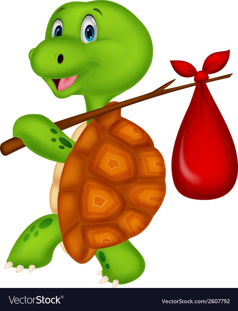 Turtle cartoon traveling vector image