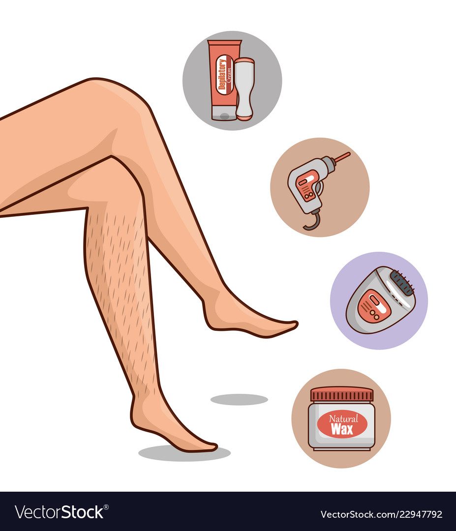 Woman Legs With Hair Removal Icons Royalty Free Vector Image