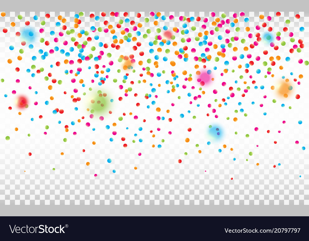Colorful confetti isolated on transparent