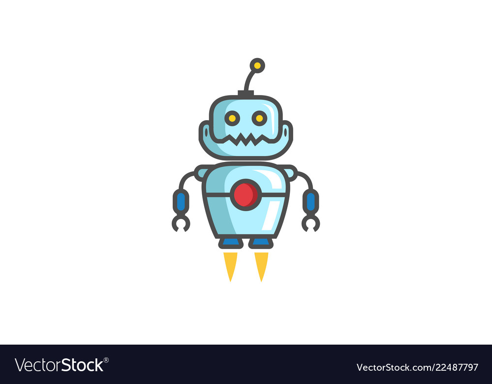 Creative blue flying robot logo