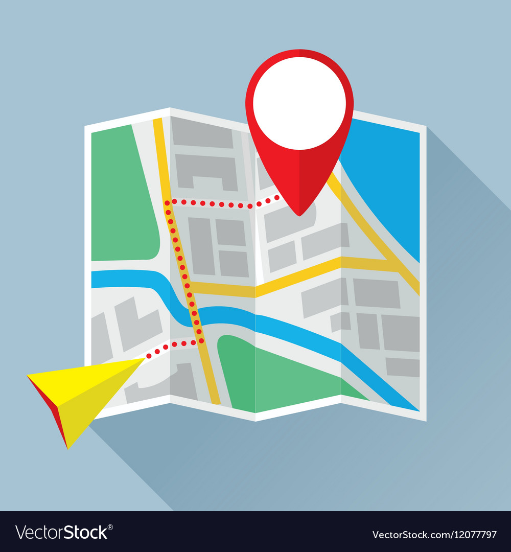 Folding Paper Map with Route Flat Icon
