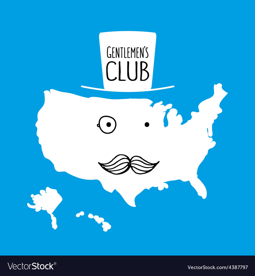 Fun hand drawn moustache cartoon America map