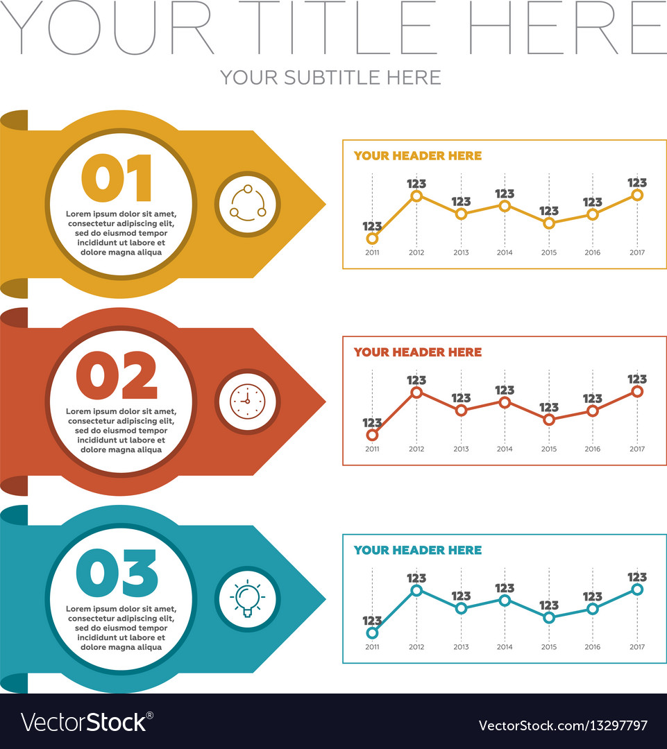 Infographics elements 3 steps and line charts