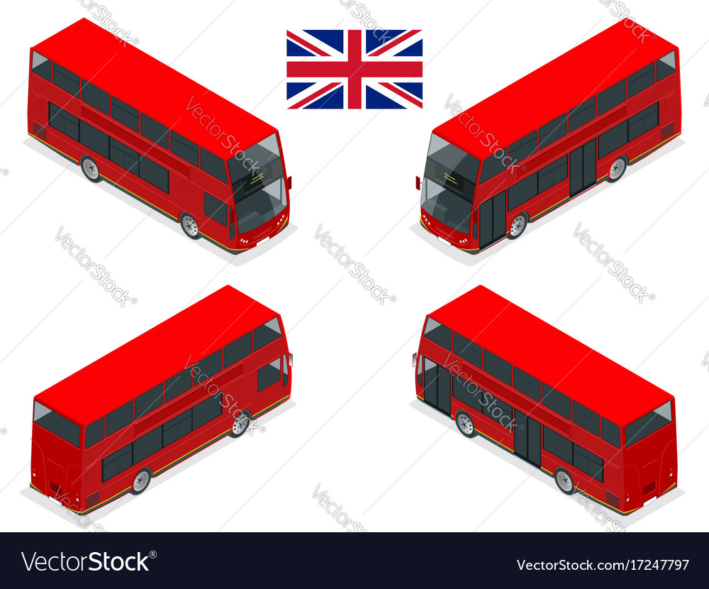 Isometric set of london double decker red bus