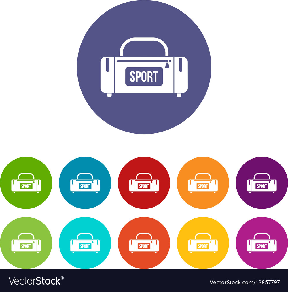 Large sports bag set icons