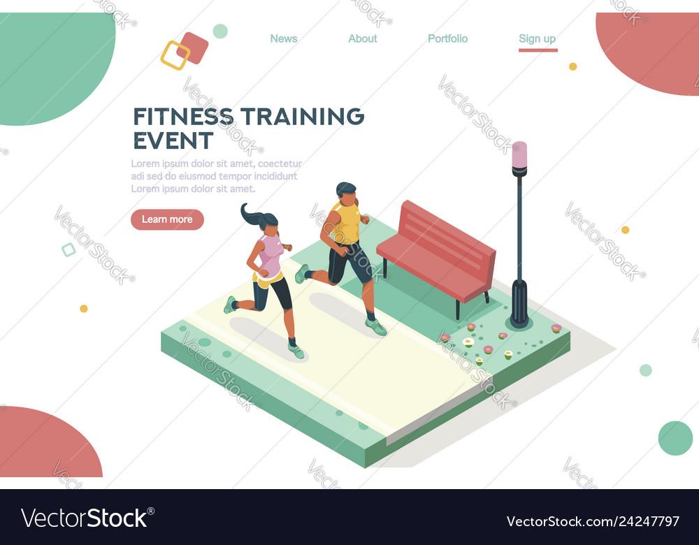 Marathon event homepage isometric