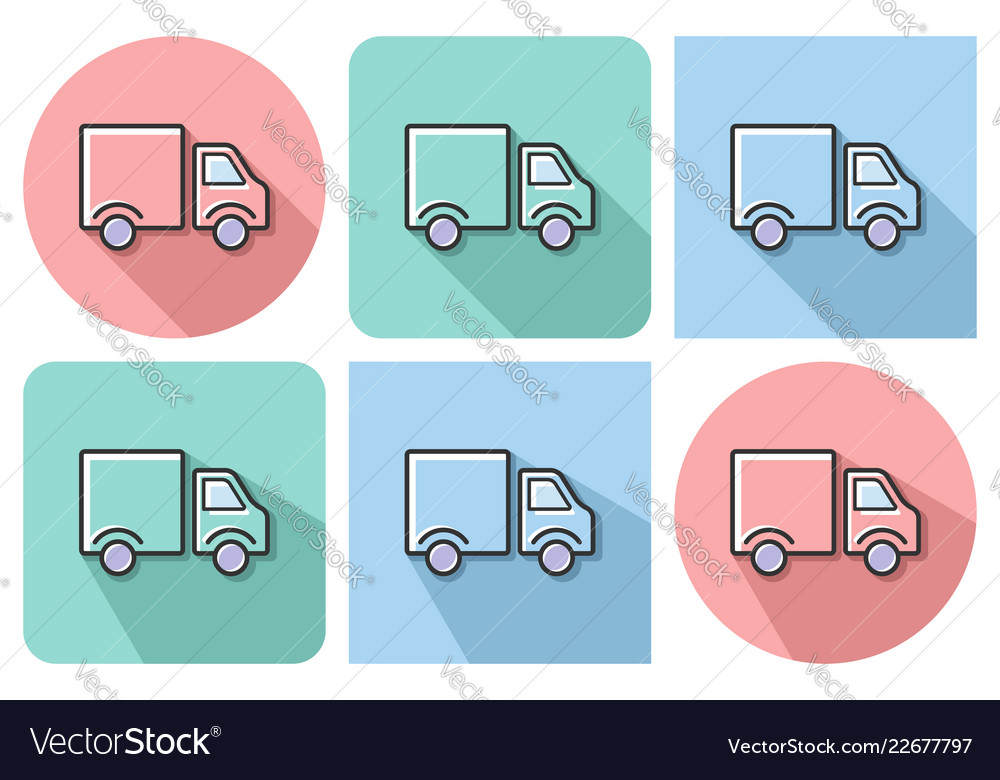 Outlined icon of delivery car with parallel and