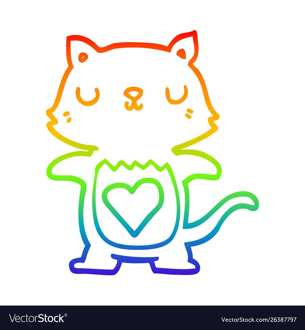 Rainbow Gradient Line Drawing Cute Cartoon Cat Vector Image