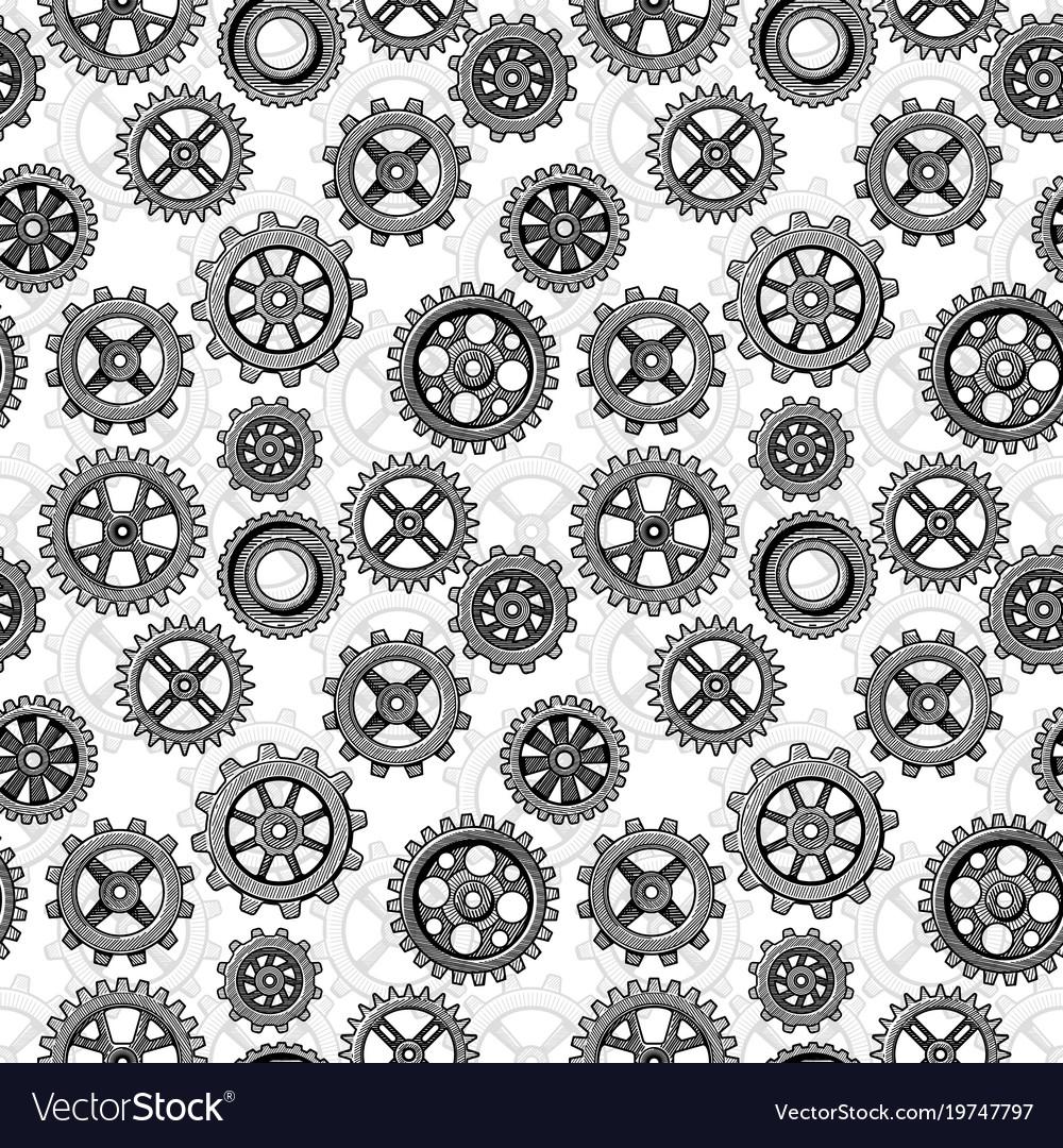 Retro sketch mechanical gears seamless pattern
