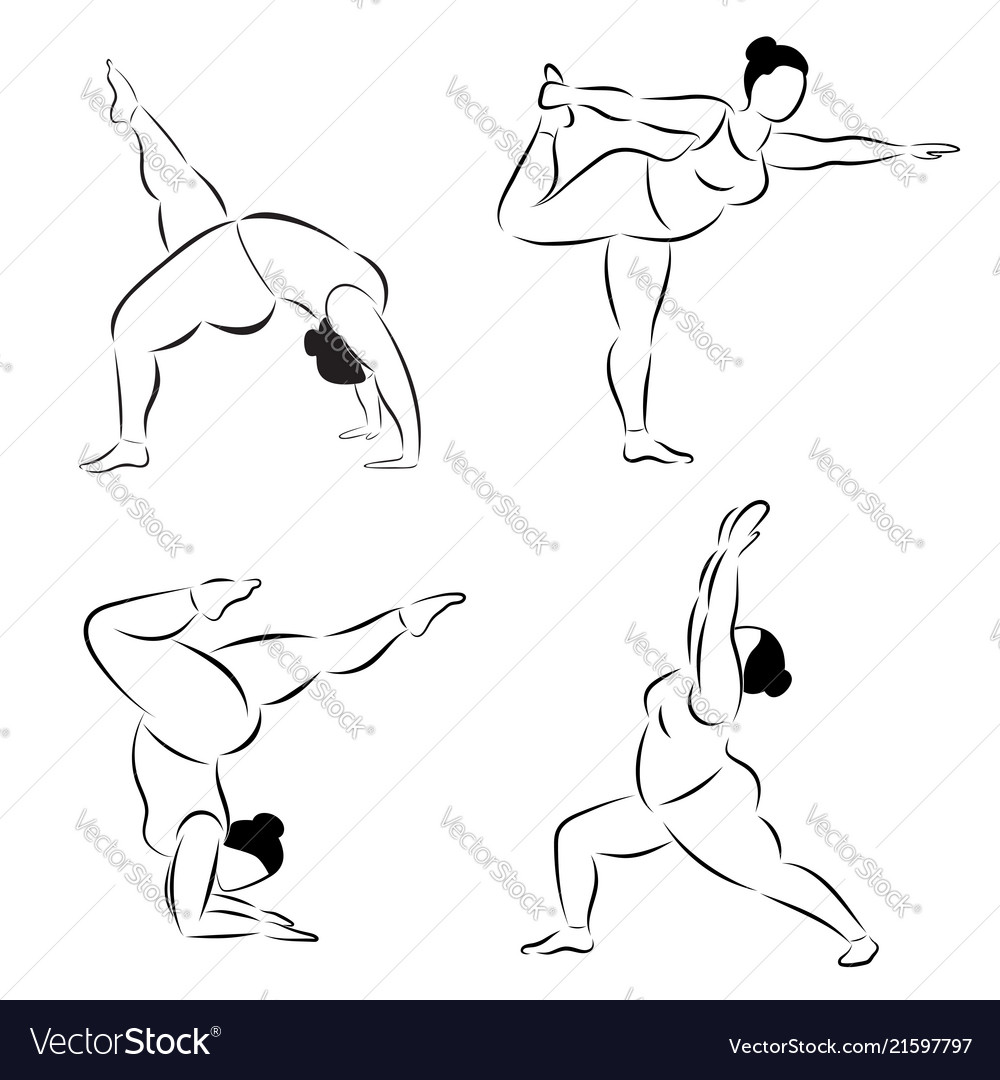 Set of plus size flexible sporty woman doing yoga