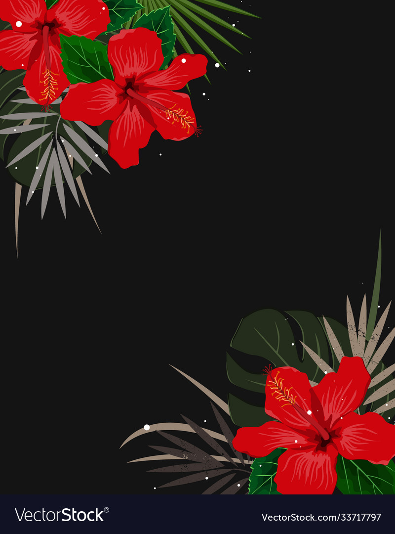 Summer corner border with tropical palm leaves and