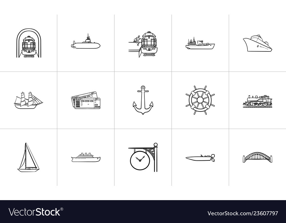Transport vehicles hand drawn outline doodle icon