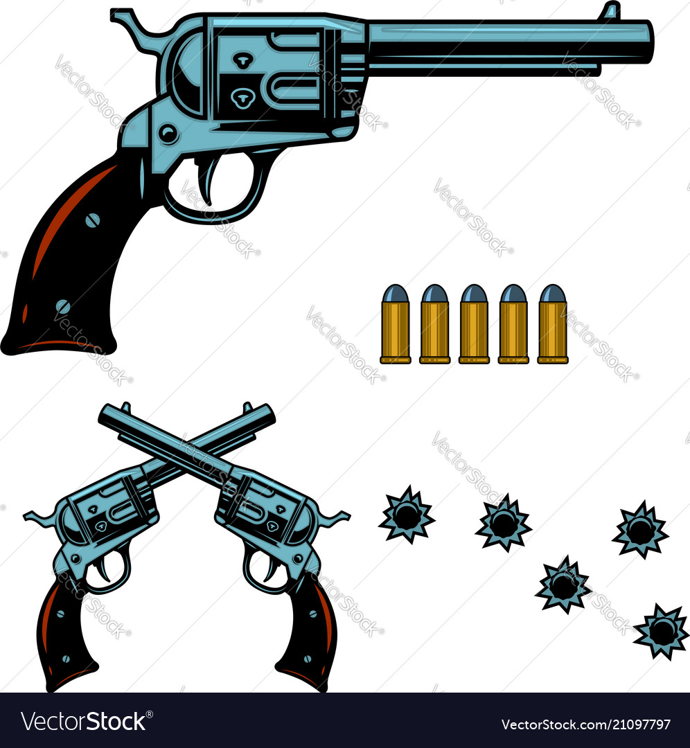 Vintage revolver with bullet and bullet holes for