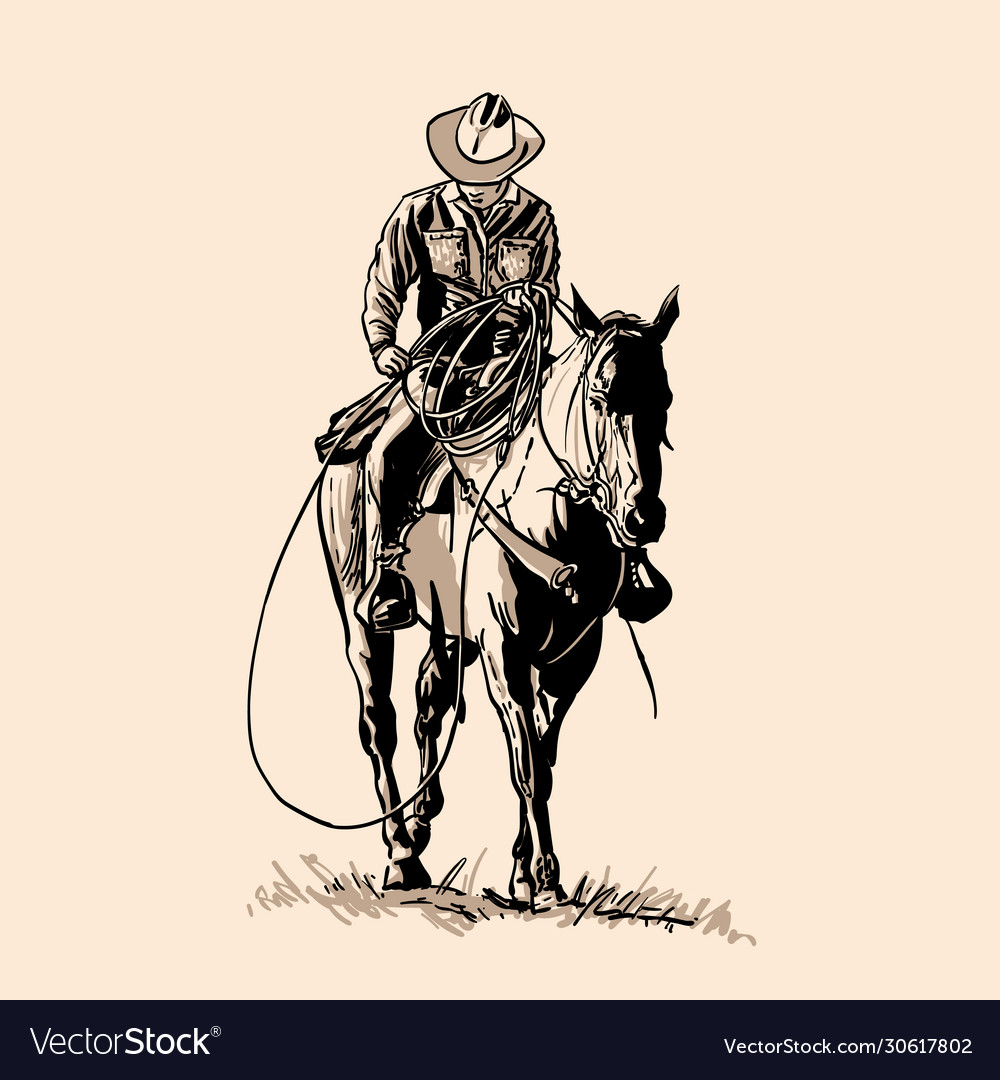 American cowboy riding horse and throwing lasso