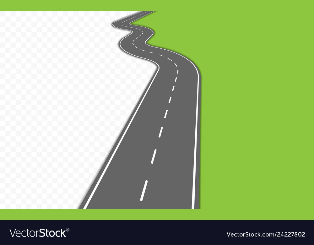Curved road with markings