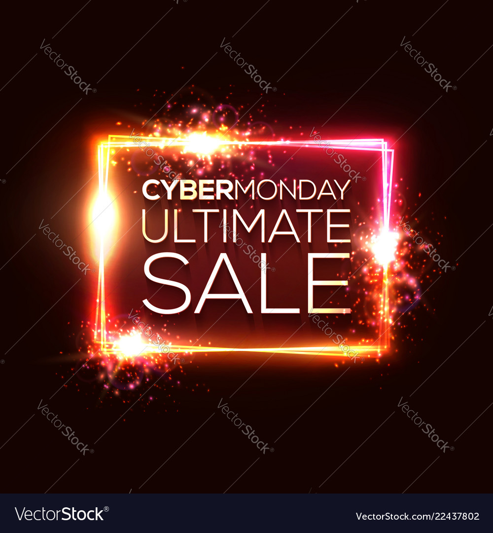 Cyber monday ultimate sale text in neon rectangle