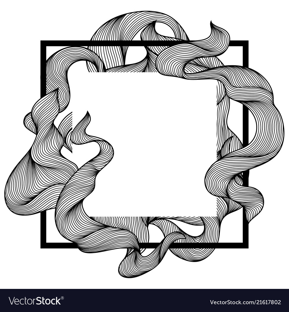 Frame with wave line curls
