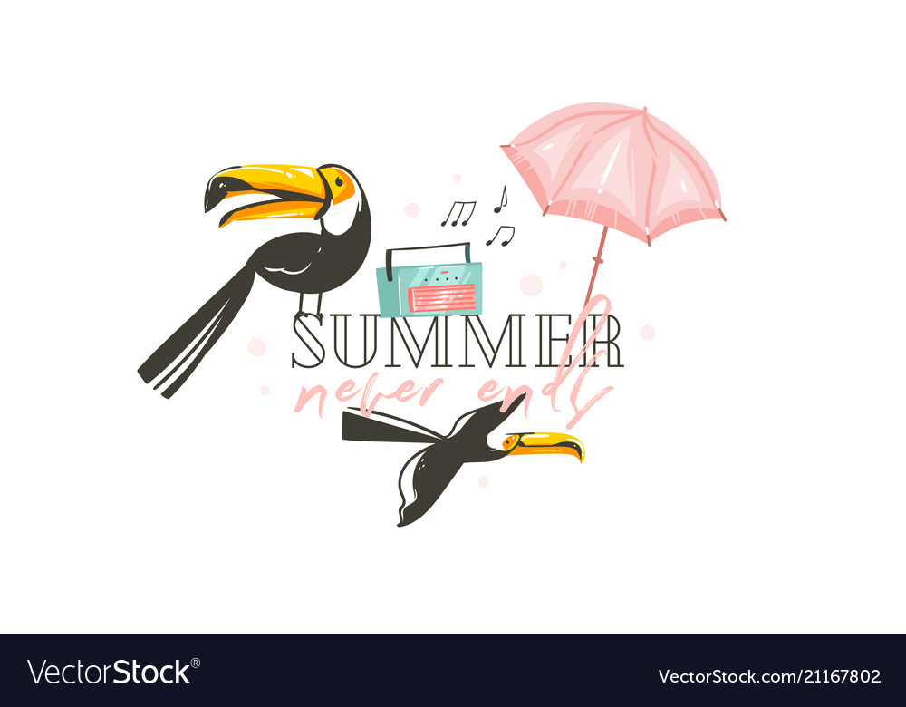 Hand drawn abstract graphic cartoon summer