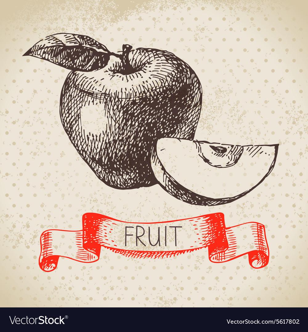 Hand drawn sketch fruit apple Eco food background