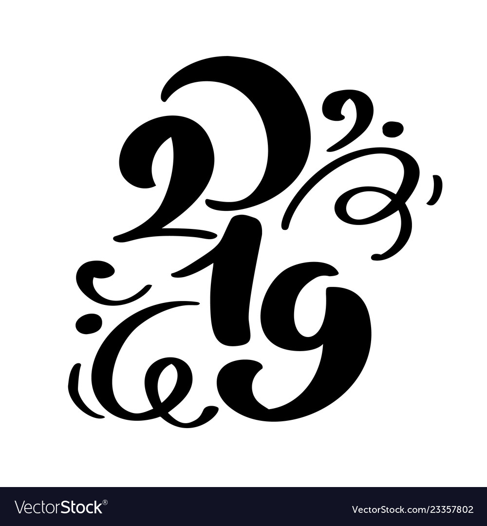 Handwritting flourish calligraphy text 2019
