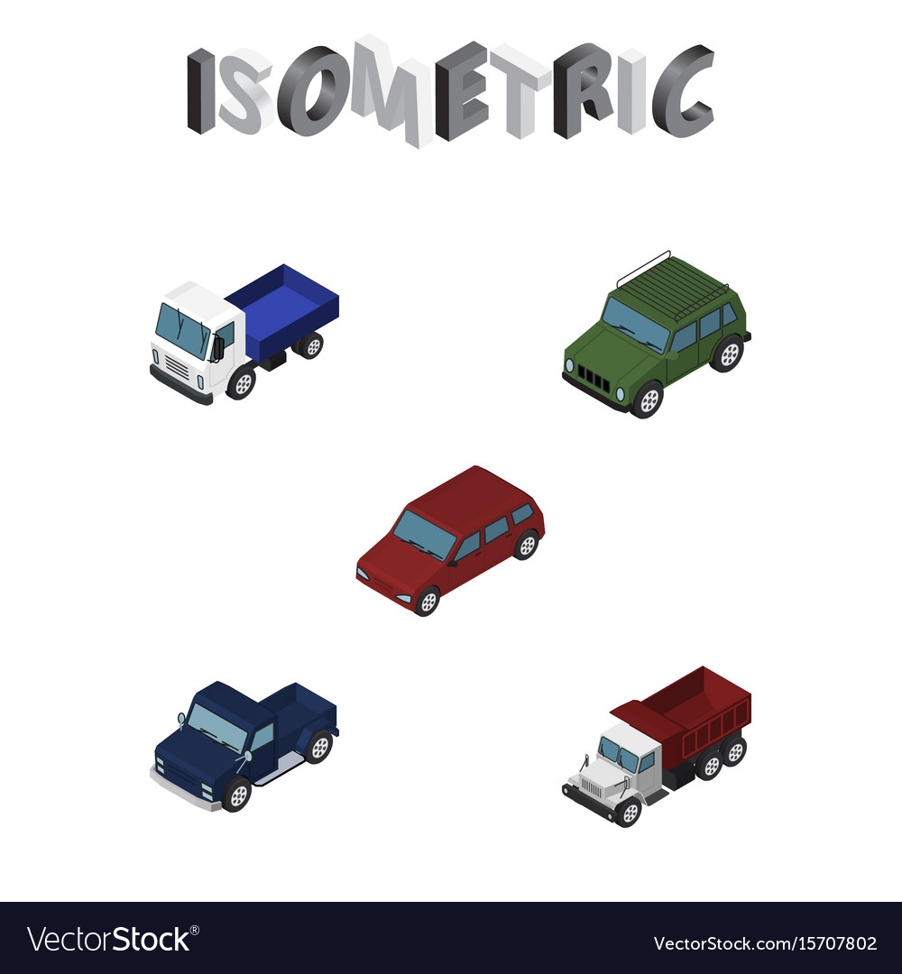 Isometric transport set of freight suv lorry and vector image