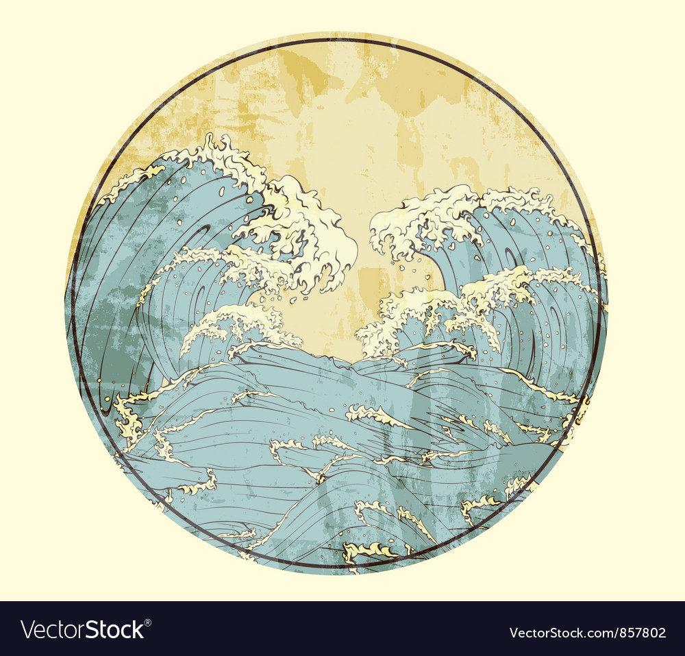 Japanese frame with waves vector image