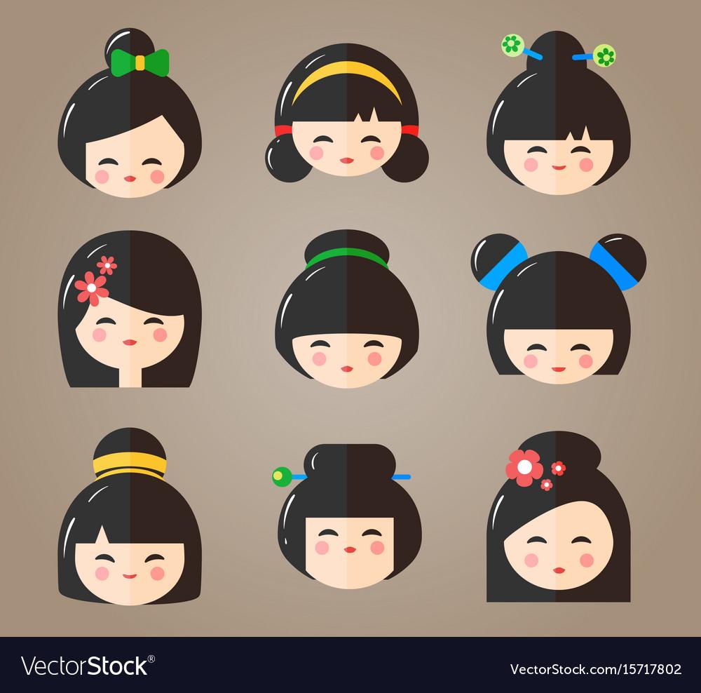 Japanese kokeshi dolls heads icons