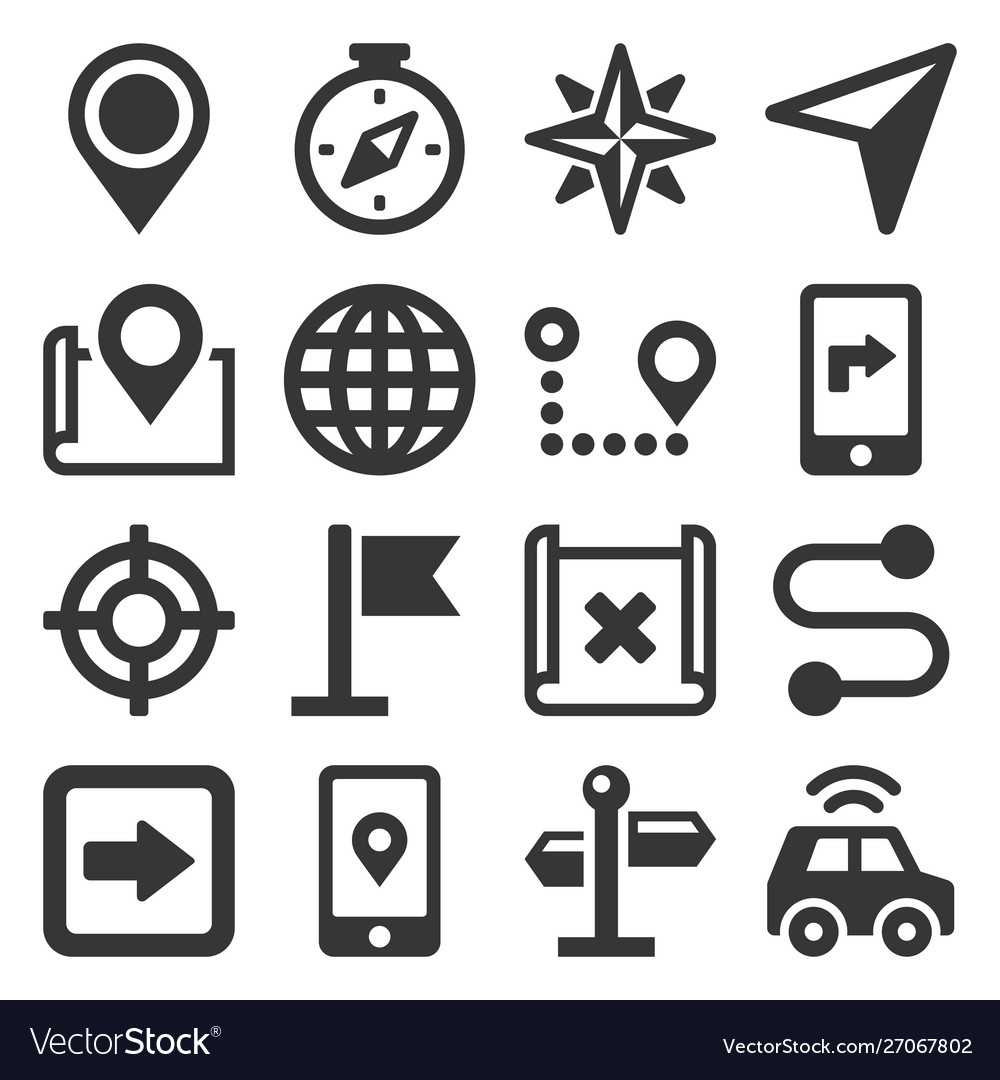 Map and navigation icons set on white background