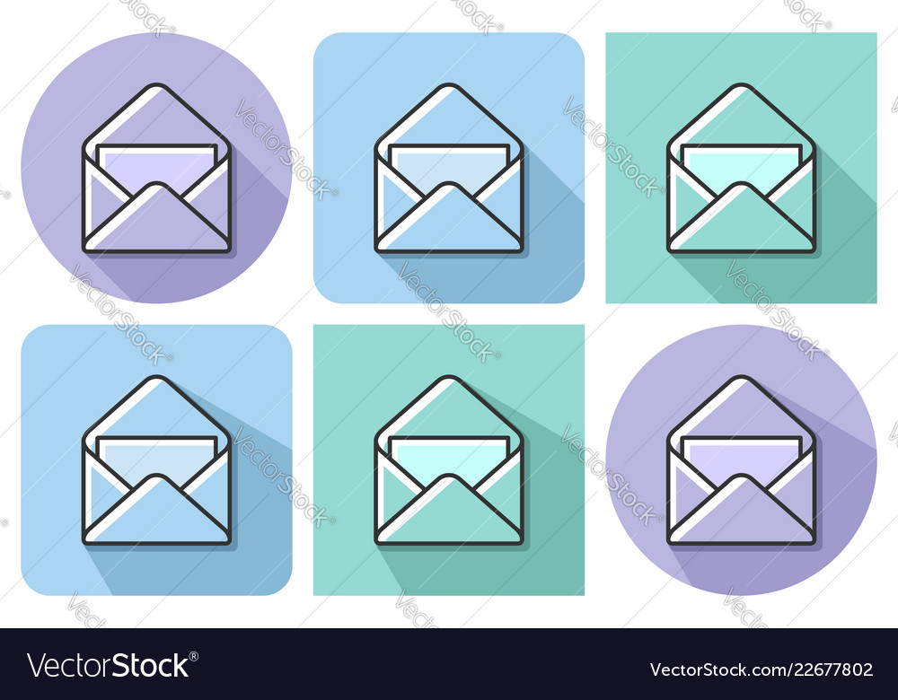 Outlined Icon Of Open Envelope And Letter With Vector Image