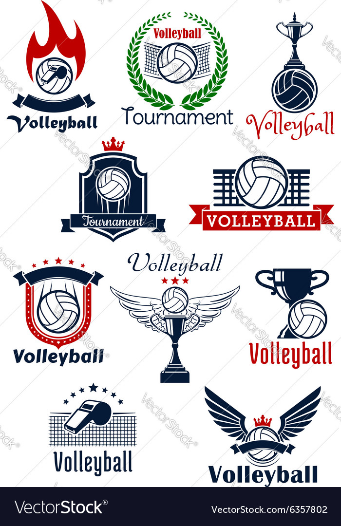 Volleyball tournament or team symbols