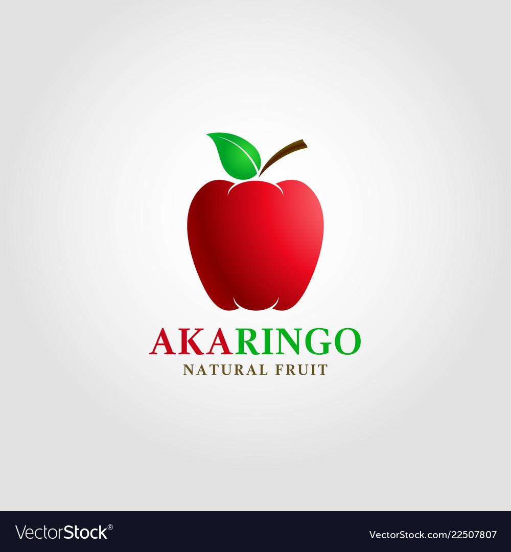 Aka ringo - red apple logo template